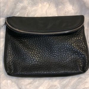 French Connection large black fold over clutch